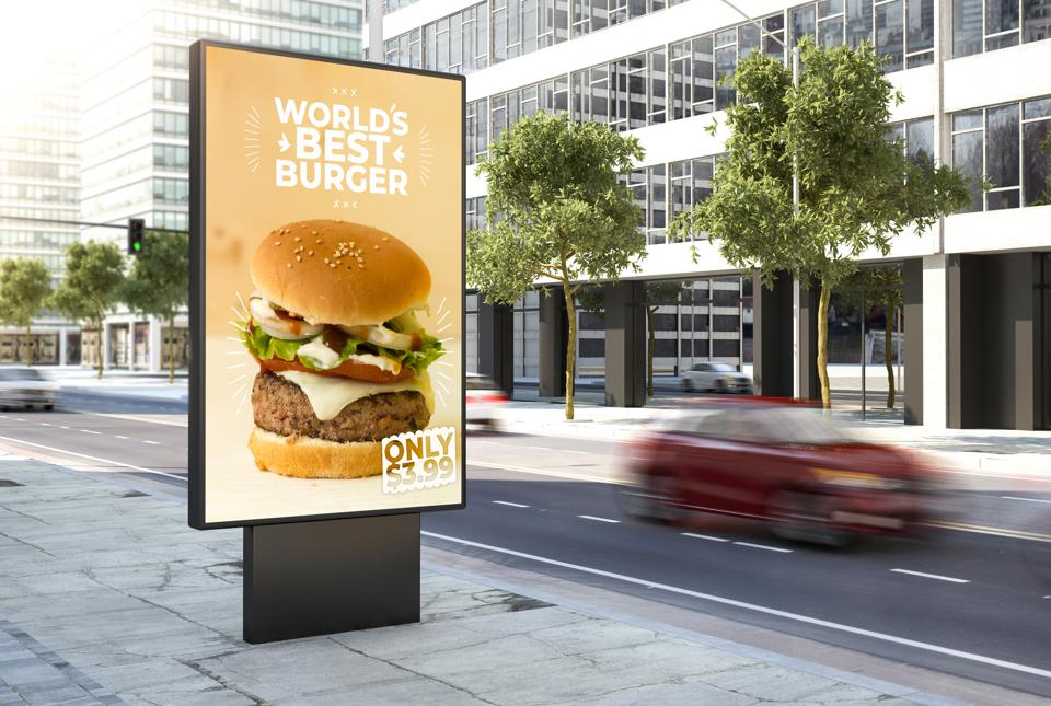 burger poster on the city
