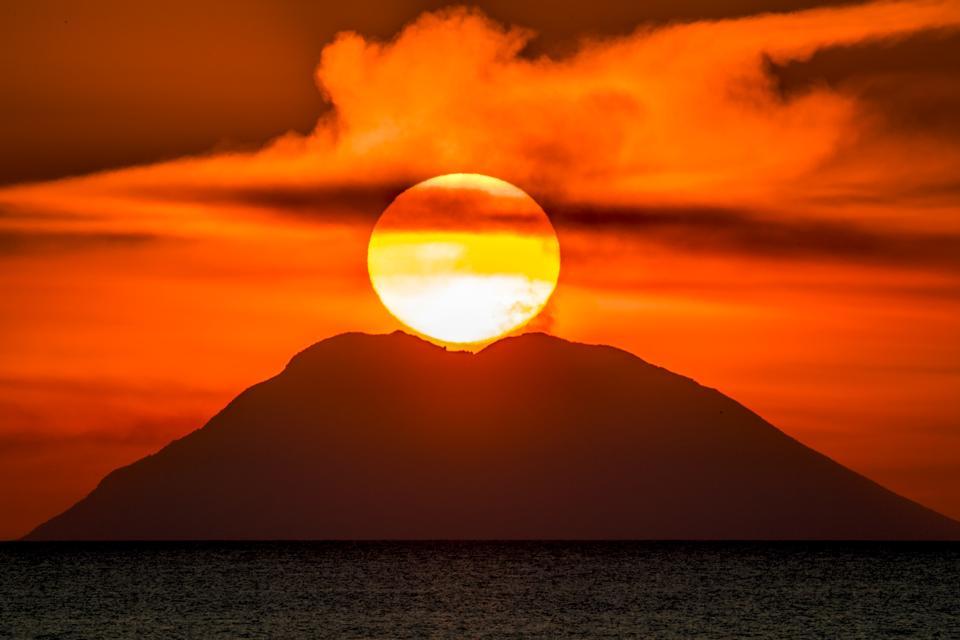 Sunset Over The Stromboli Volcano