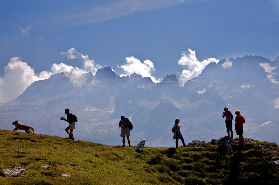 Monte Spinale near Madonna di Campiglio in the background the Dolomiti di Brenta dolomites. Trentino Alto Adige. Italy. Europe