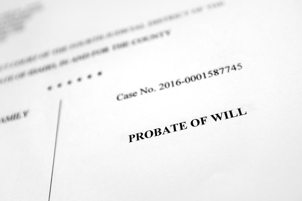 Court document for Probate of Will