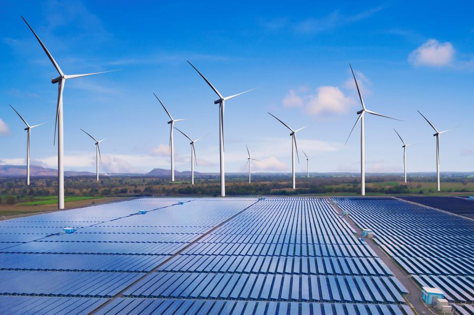 Solar panel and wind turbine farm clean energy.