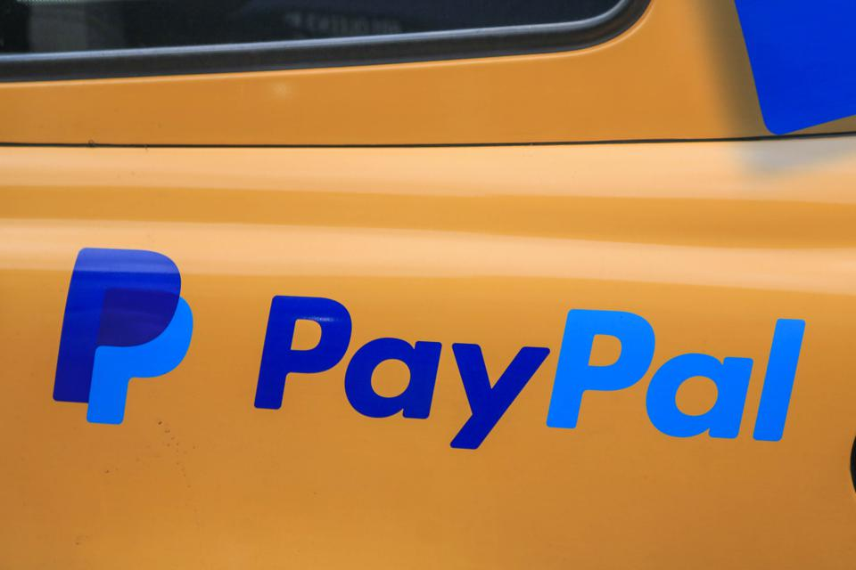 An online payments system Pay Pal logo seen on taxi cab in...