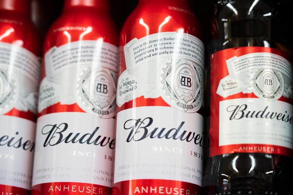 Budweiser beer bottles displayed for sale in a Carrefour...