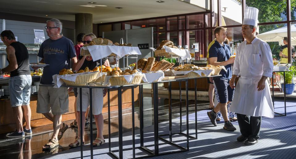 Guests at the breakfast buffet (pre-Covid-19) in five-star Pestana Casino Park hotel on June 26, 2019 in Funchal, Portugal.