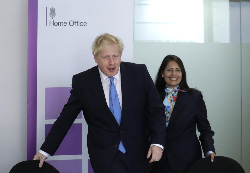 Boris Johnson and Priti Patel at the Home Office.