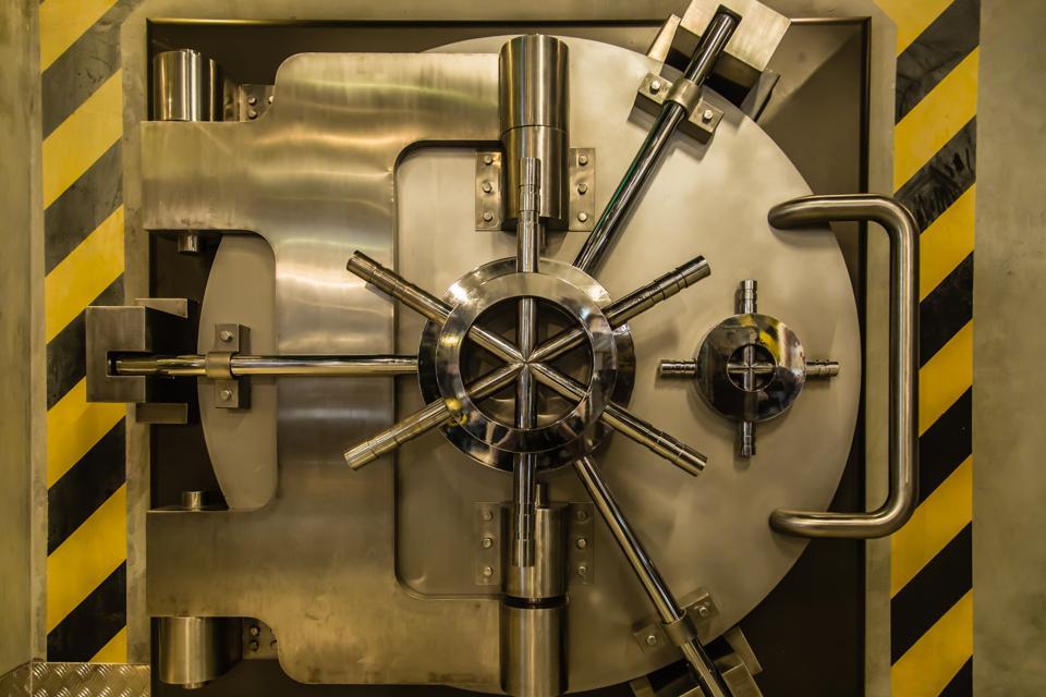 metal heavy bank Security big door closeup view