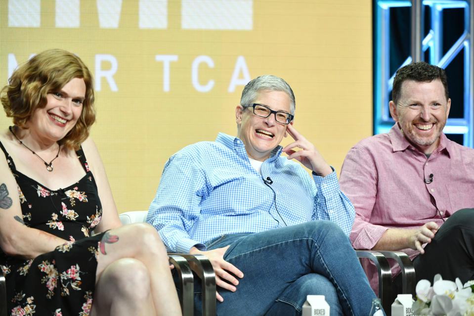 Lilly Wachowski, Abby McEnany, and Tim Mason, co-showrunners of Showtime's 'Work in Progress'