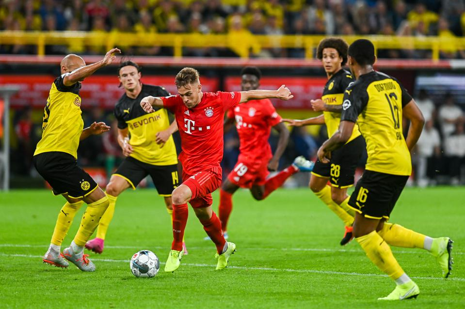 Joshua Kimmich from Bayern Munich seen in action during the...