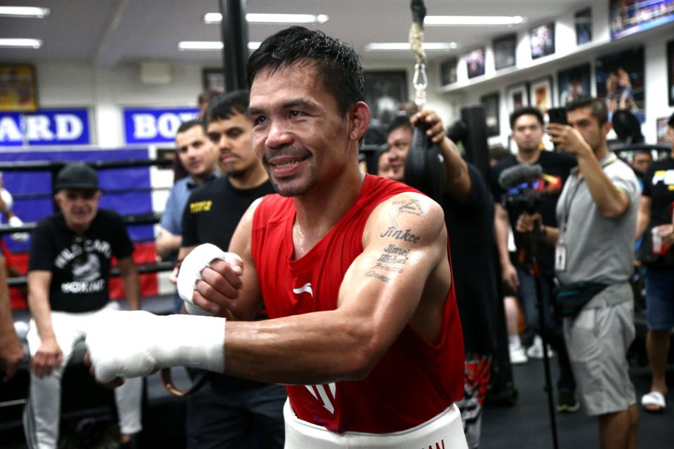 Manny Pacquiao Training Session At Wild Card Boxing Club...