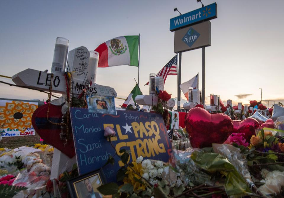A makeshift memorial for victims of the shooting that left a total of 22 people dead at the Cielo Vista Mall Walmart in El Paso, Texas.