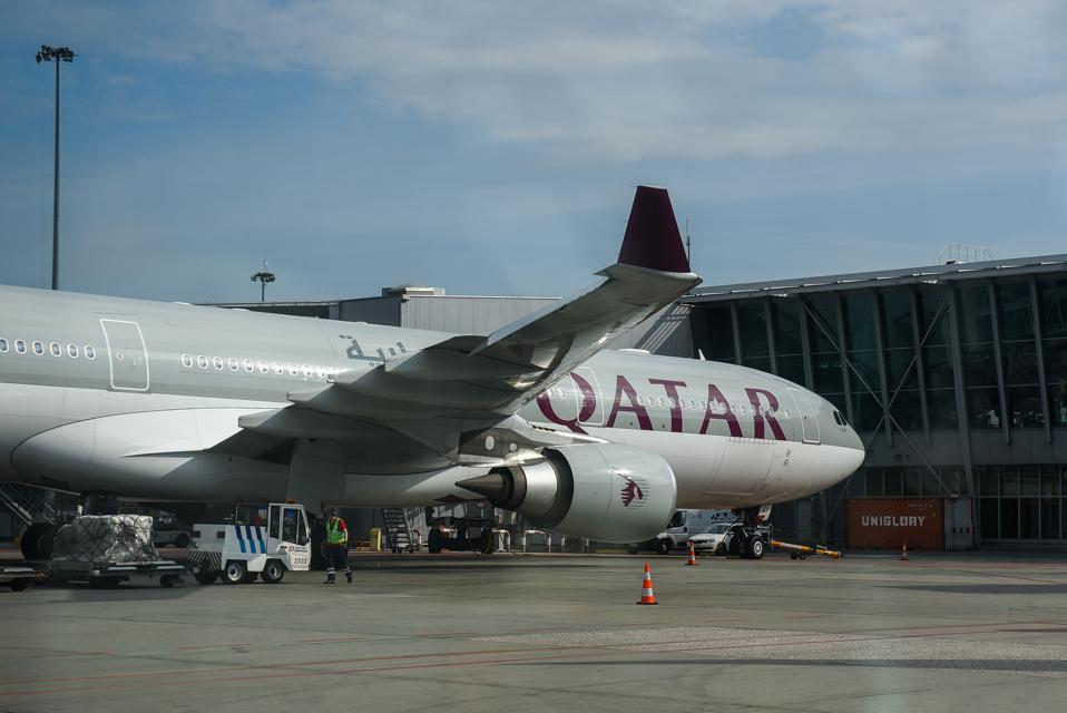 Qatar Airways Airbus A330 Aircraft seen at the Warsaw Chopin...
