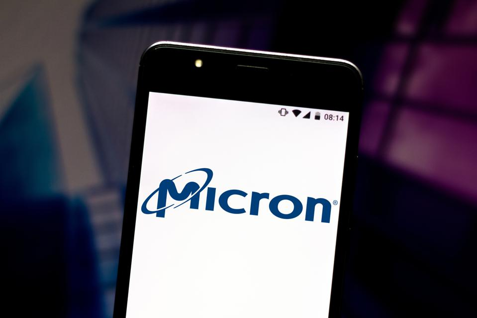 In this photo illustration the Micron Technology logo is...