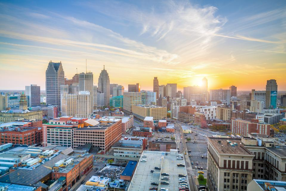 Aerial view of downtown Detroit at sunset in Michigan