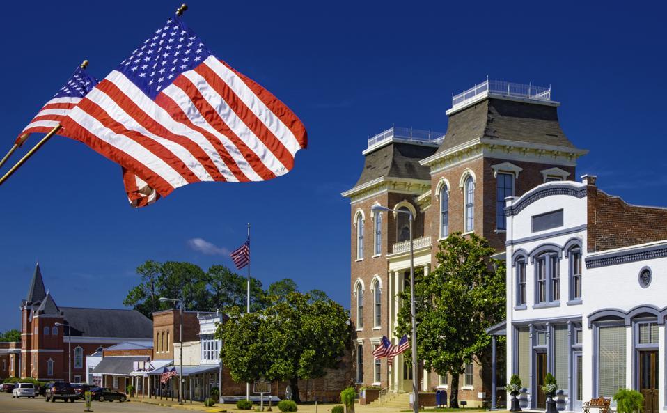 Main Street USA - American Flags