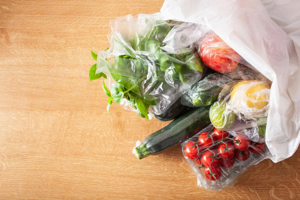 single use plastic packaging issue. fruits and vegetables in plastic bags