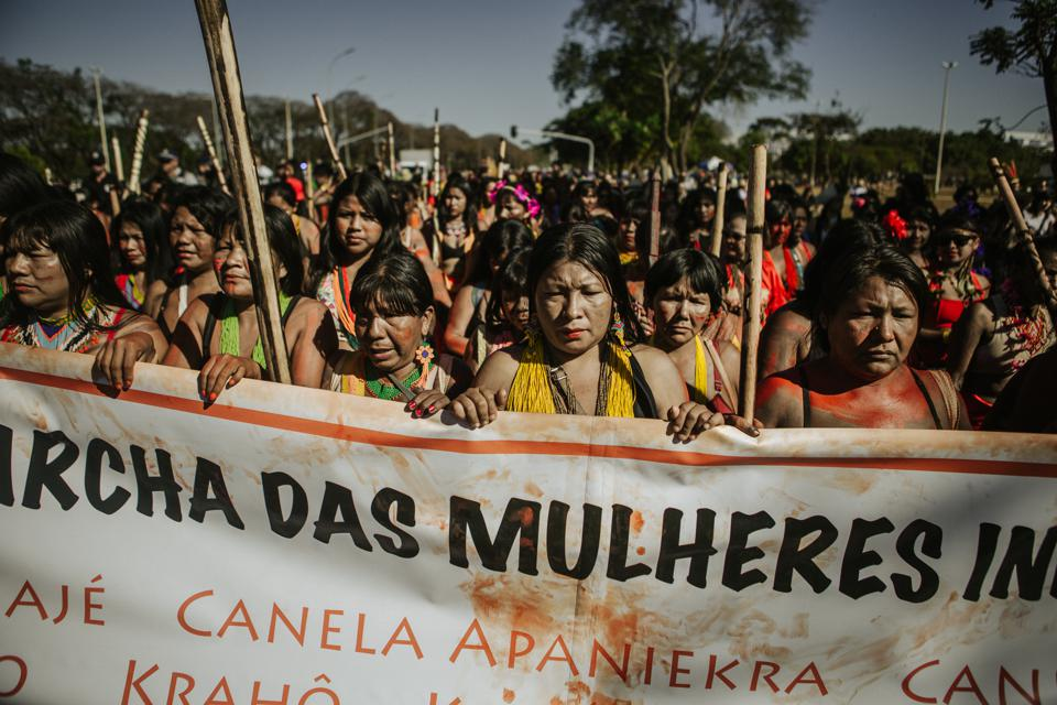 Indigenous women protest in Brazil