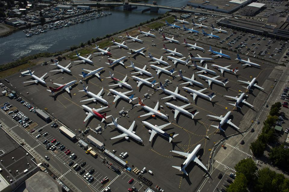 Boeing 737 MAX airplanes are parked in Seattle in August 2019.
