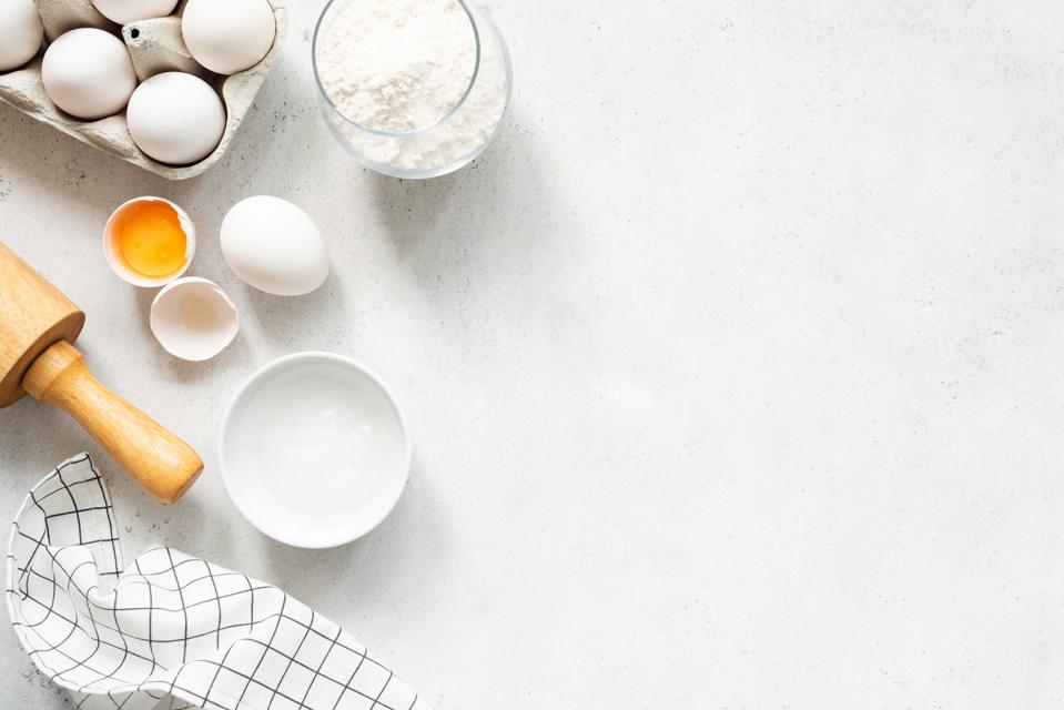 Baking Cooking Ingredients On Concrete Background