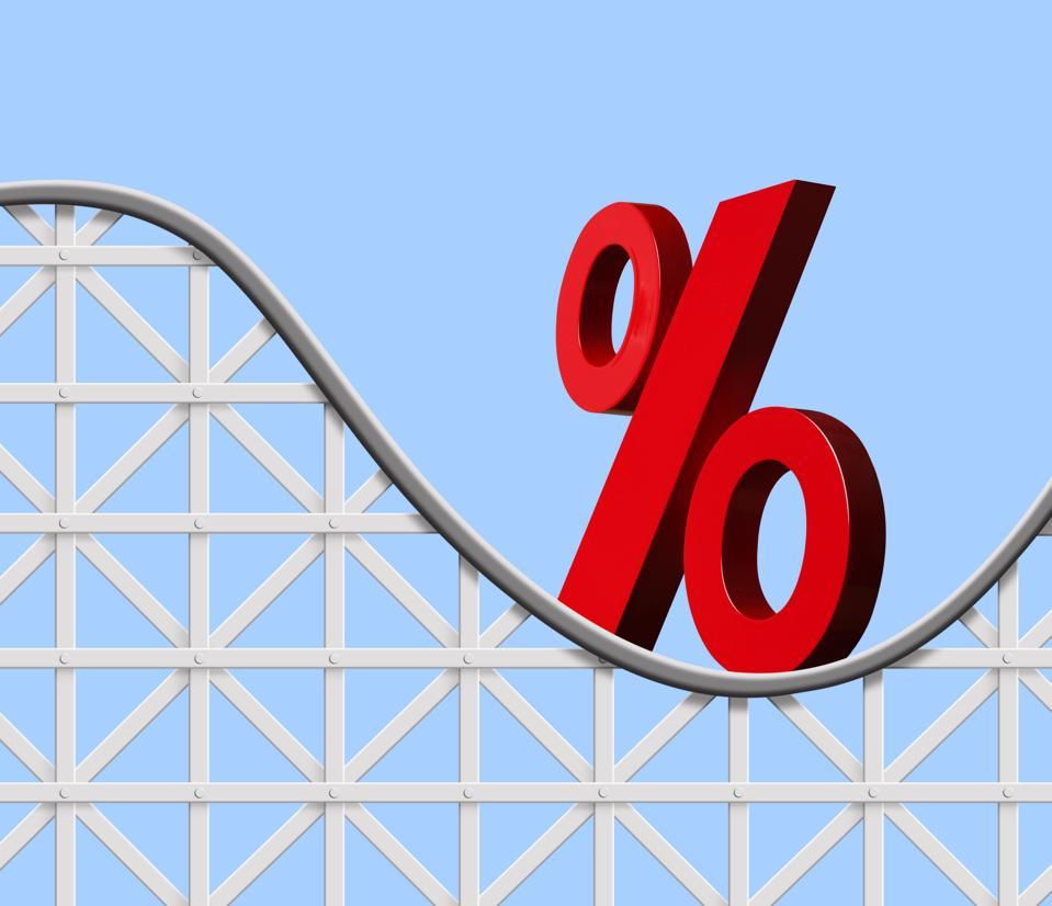 Interest Rate Symbol On A Roller Coaster