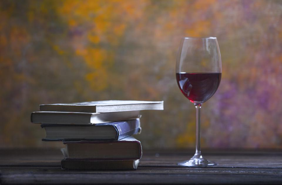 Books and a glass of wine