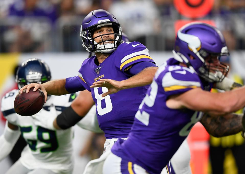 Kirk Cousins of the Minnesota Vikings during an August 18 preseason game against the Seattle Seahawks.