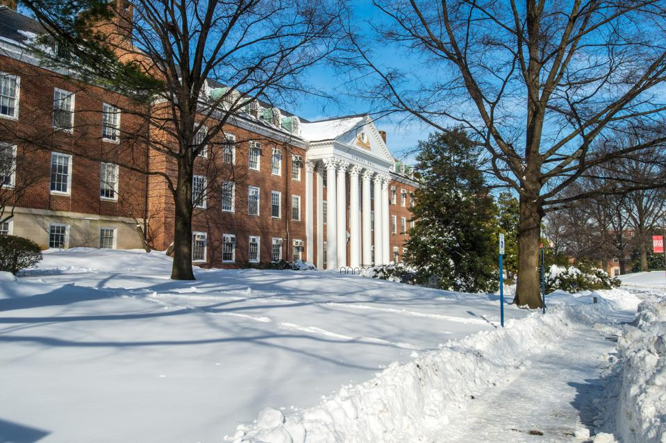 Snow on campus at the University of Maryland, College Park.