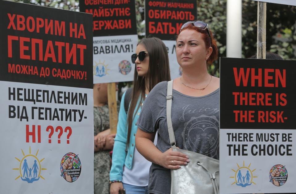 Anti-vaxers Rally In Kiev