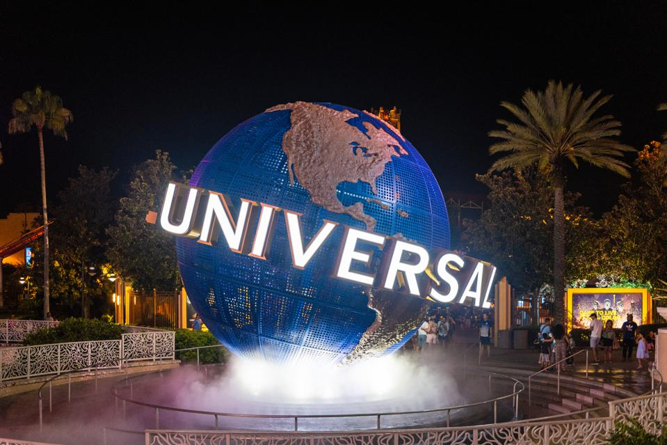 The 3d logo of Universal Studios is seen during the...