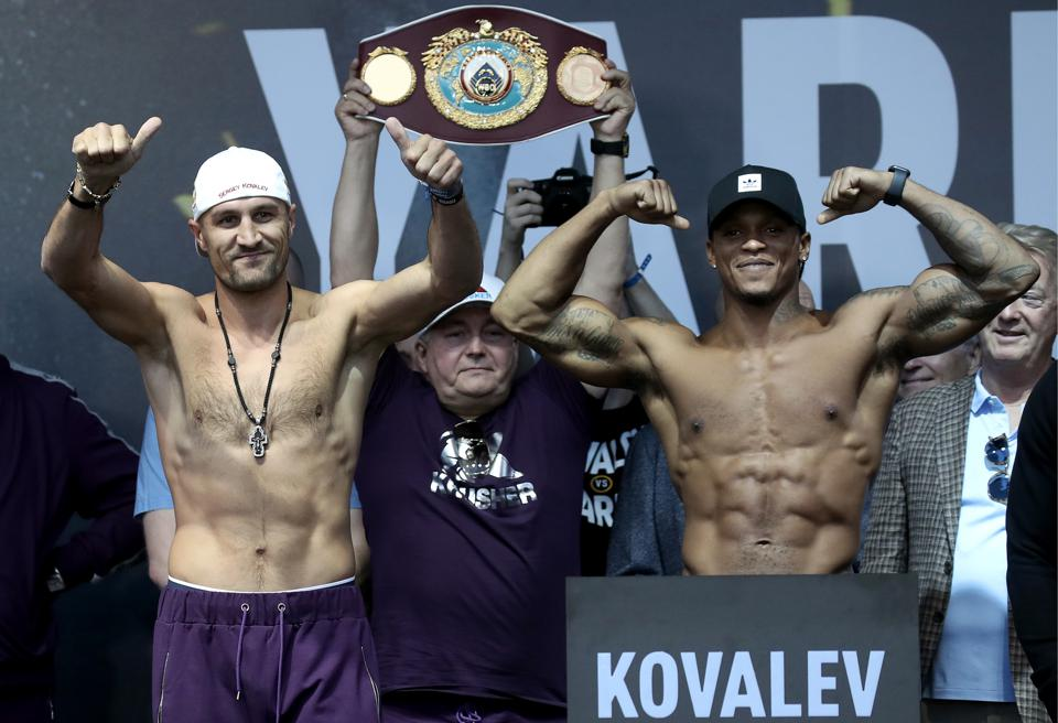 Sergey Kovalev and Anthony Yarde weigh in before WBO light heavyweight title fight in Chelyabinsk