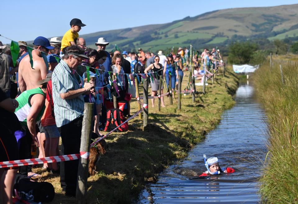 a competitor at the World Bog Snorkelling Championships