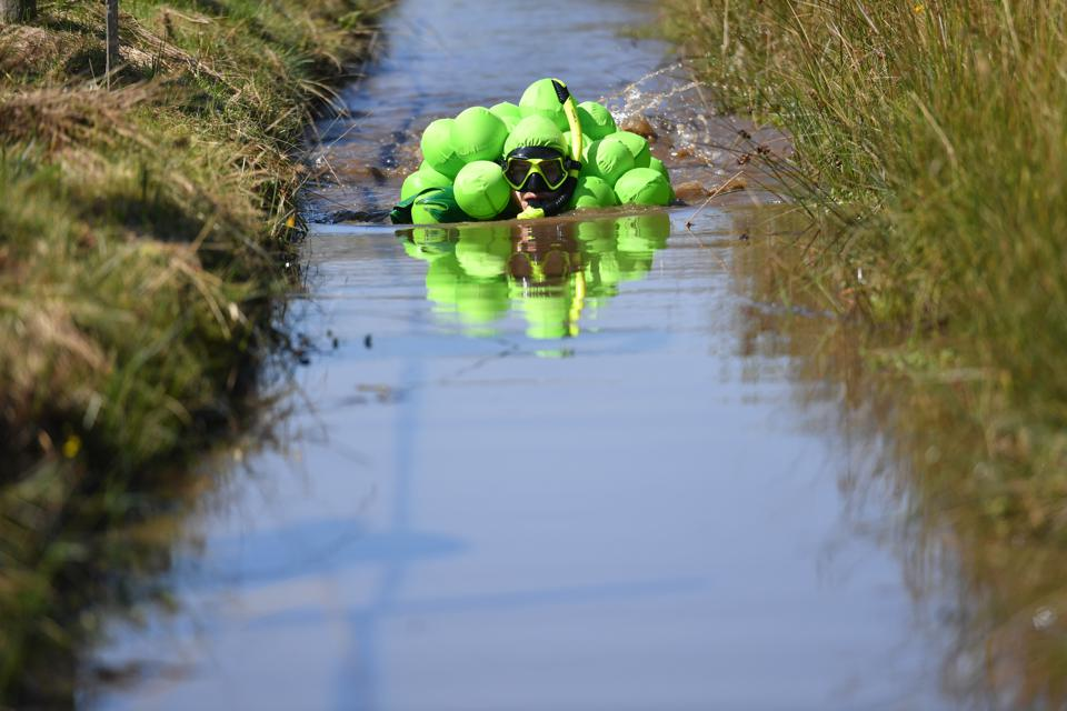 a competitor at World Bog Snorkelling Championships in Wales