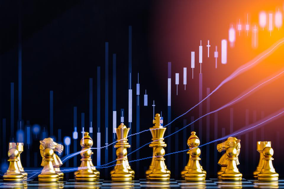 Digital Composite Image Of Chess Pieces And Stock Market Data