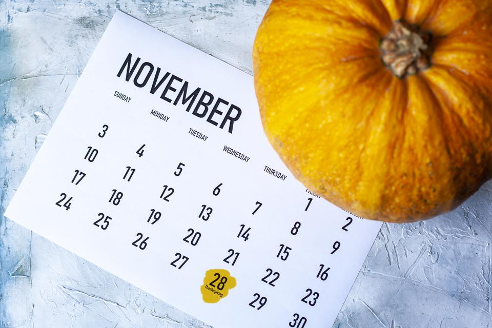 Pumpkin on November 2019 calendar with Thanksgiving day marked