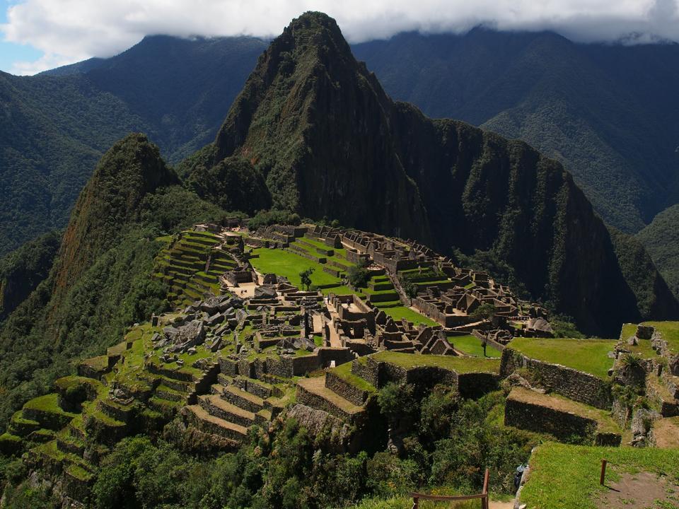 Sunny view of  Machu Picchu, a 15th-century Inca citadel...