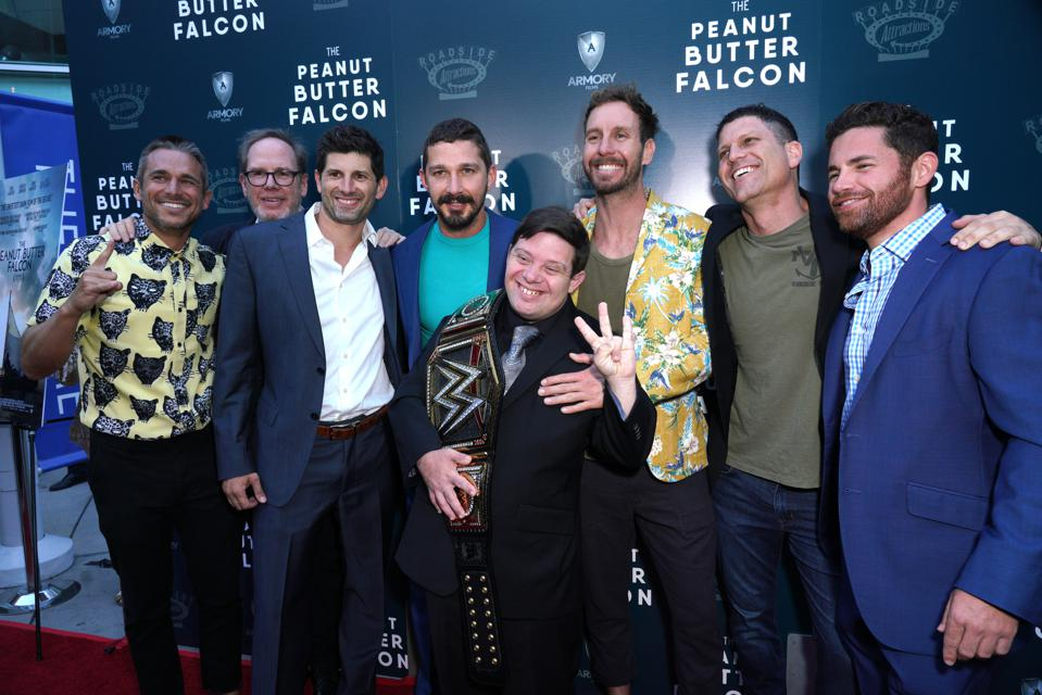 HOLLYWOOD, CALIFORNIA - AUGUST 01: Lije Sarki , Albert Berger, Aaron Scotti, Shia LaBeouf, Zack Gottsagen, Tyler Nilson, Mike Schwartz and Tim Zajaros attend the LA Special Screening of Roadside Attractions' 'The Peanut Butter Falcon' at ArcLight Hollywood on AugustWIREIMAGE