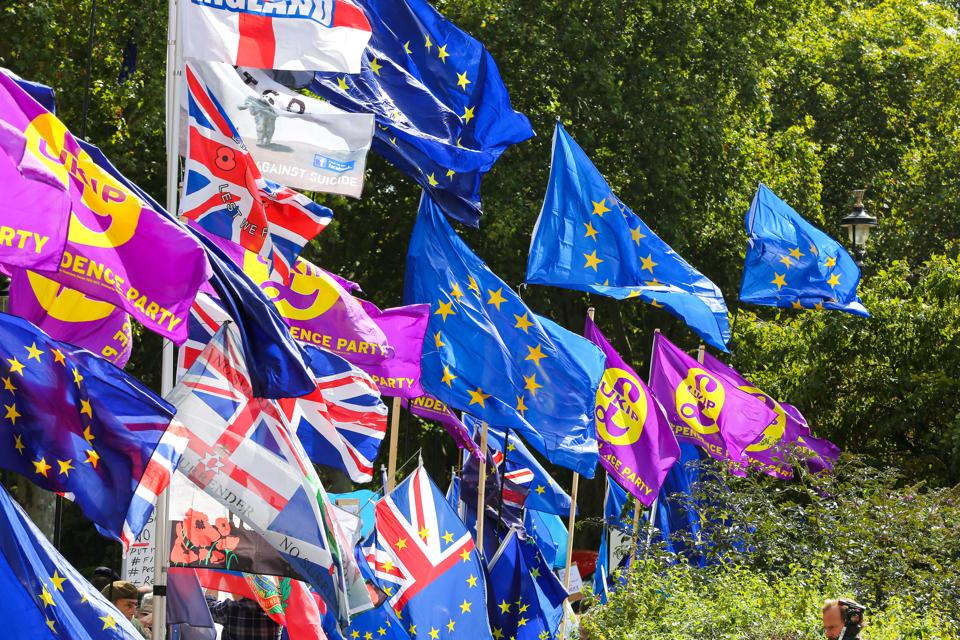 EU and Union Jack flags in central London on the day MPs...