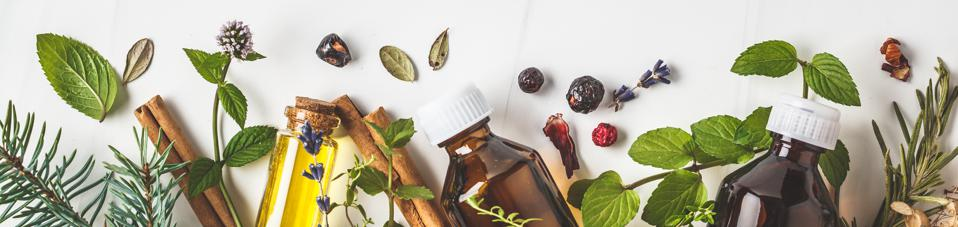 Ingredients for essential oil. Different herbs and bottles of essential oil.