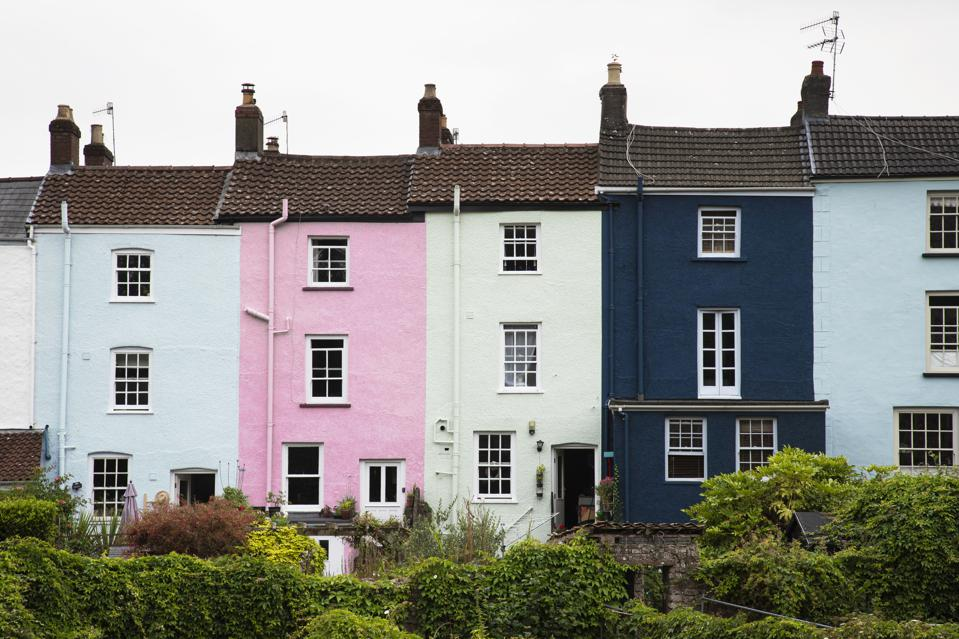 Row of Colourful Georgian Terraced Houses In Chepstow, Wales