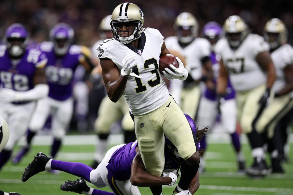 Michael Thomas of the New Orleans Saints during an August 9 preseason game against the Minnesota Vikings.