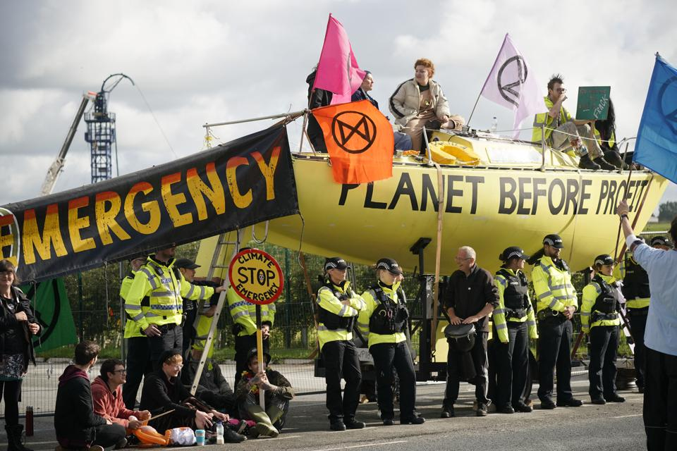 Extinction Rebellion protest and police at Cuadrilla fracking site near Blackpool.