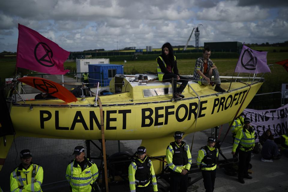 Extinction Rebellion protest at Cuadrilla fracking site in Lancashire, September 10, 2019.