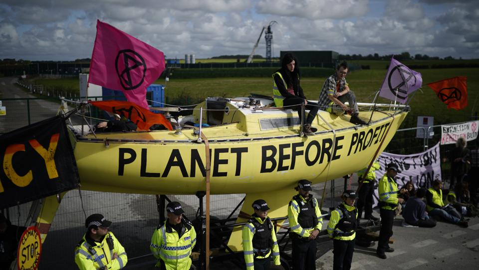 Extinction rebellion protest at Cuadrilla Fracking site near Blackpool, UK.