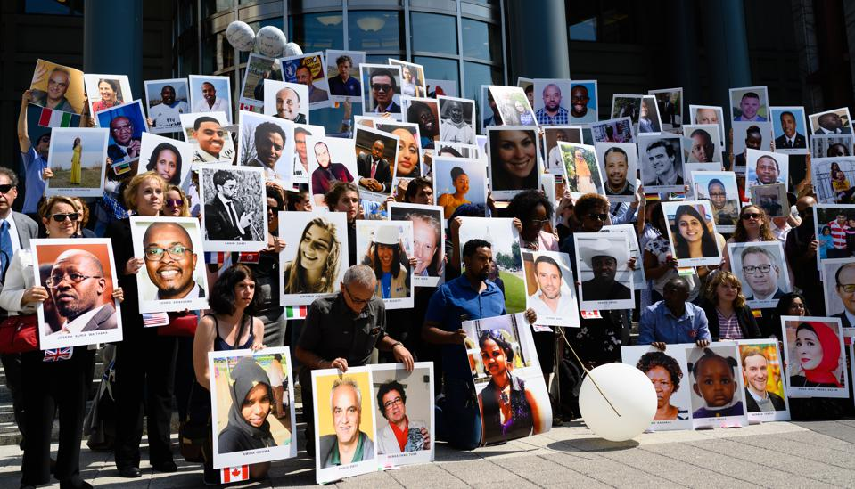 The families of the victims of the Ethiopian Airlines crash of the Boeing 737 Max jet held a vigil in front of the US Department of Transportation headquarters in Washington, DC on Sept. 10, 2019, the six-month anniversary of the Ethiopian Airlines crash.