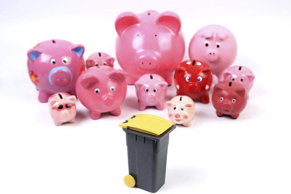 Still life of a group of piggy banks