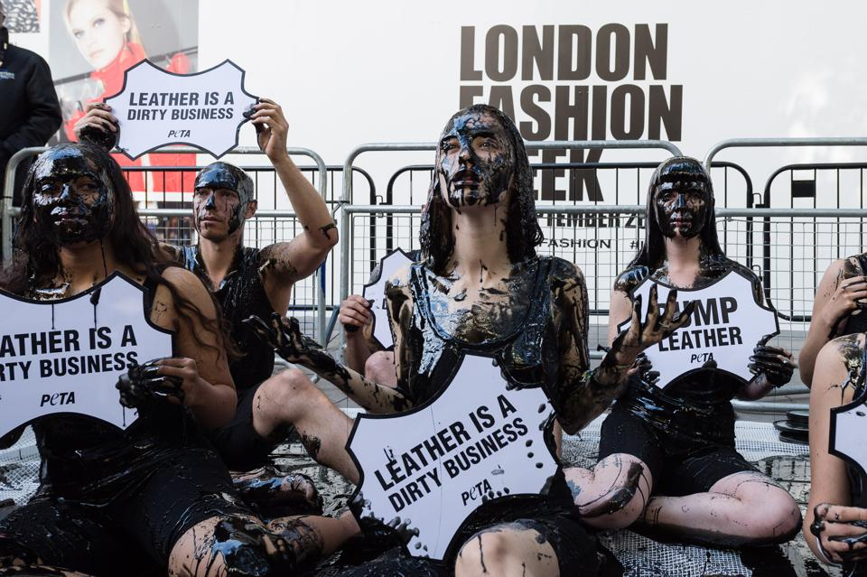 PETA Protests Against Leather at London Fashion Week