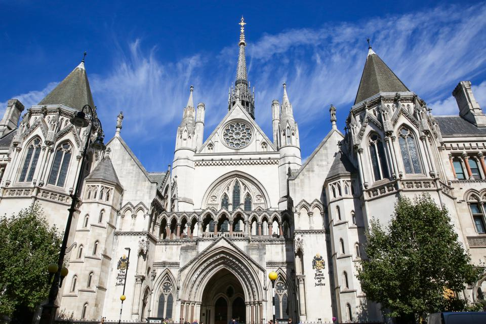 An exterior view of the Royal Courts of Justice in London.