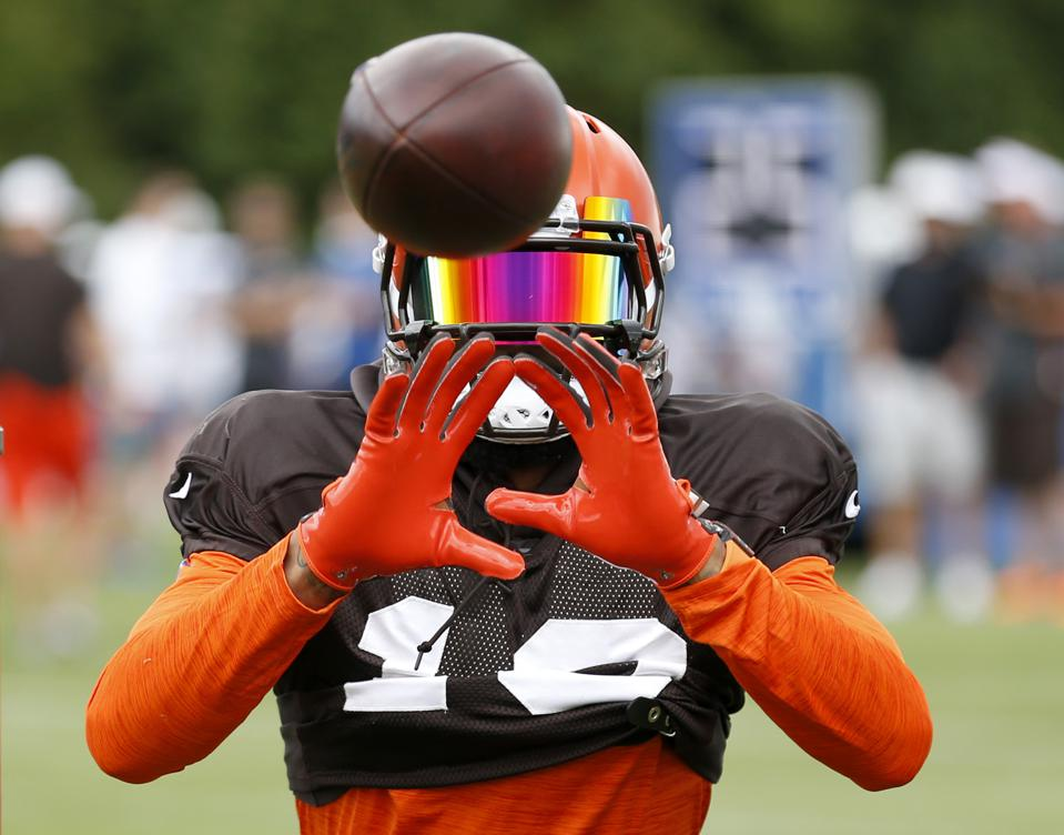 Odell Beckham Jr. of the Cleveland Browns during a practice on August 14.