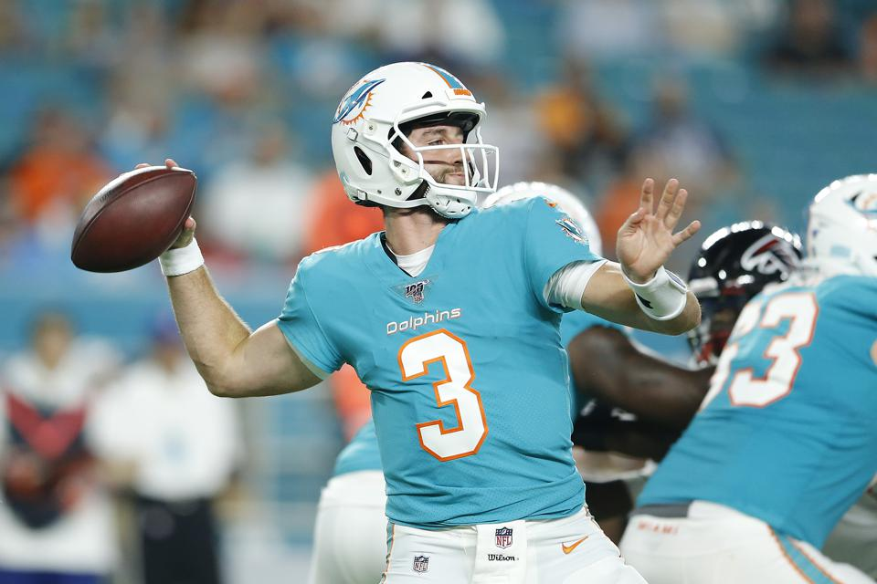 Josh Rosen of the Miami Dolphins during an August 8 preseason game against the Atlanta Falcons.