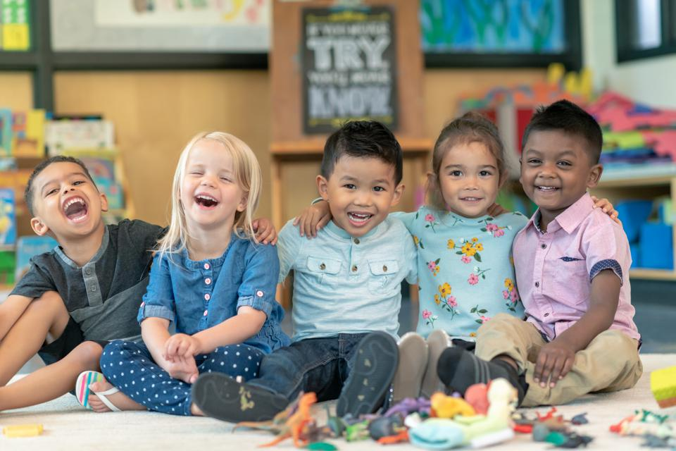 Group of smiling preschool students