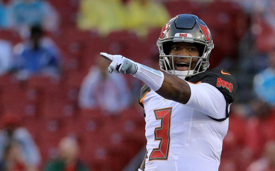Jameis Winston of the Tampa Bay Buccaneers during an August 16 preseason game against the Miami Dolphins.